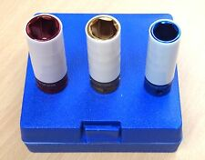 3 PCS 1/2in Dr. Colored Deep Impact Socket Thin Wall 17mm 19mm 21mm Nylon Sleeve