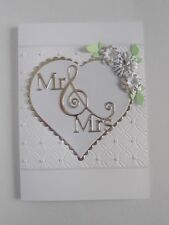 Handmade Personalised Mr and Mrs Wedding Card Silver heart and Flowers