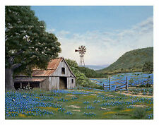 Ranch, Texas, Bluebonnets, Windmill, Dirt Road, Country, Barn, Artwork, Print