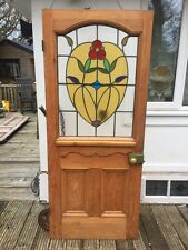 RESTORED STAINED GLASS FRONT DOOR OLD PERIOD WOOD RECLAIMED ANTIQUE LEAD 1900s.