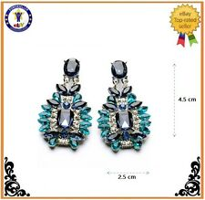 Trendy Jewelry Elegant Shiny Resin Love Stone Big Blue Plant Earrings