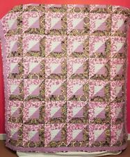 New Pink Paisley Sunshine and Shadow Quilt twin size 70 by 81 inches Handmade
