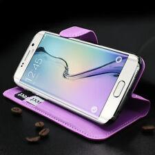 Samsung Galaxy S6 Edge G925 Imitación de Cuero Funda Móvil 2 Mapas Fächern Lila