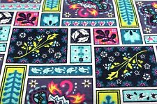 FRAMED FLORAL FLOWERS TILED FLANNEL FABRIC 100% COTTON SEWING QUILTING SOLD BTY