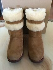 UGG Australia Girls SKYLIR Chestnut Suede and Sheepskin Boots NWB Size 4 Big Kid