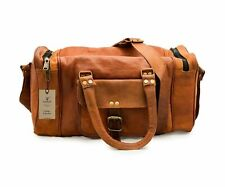 "24"" Men's genuine Leather Cool luggage gym weekend overnight duffle bag holdall"