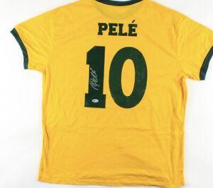 Brazil Pele Signed Soccer Jersey Autographed Beckett COA
