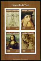 Madagascar 2019 MNH Leonardo Da Vinci Mona Lisa 4v IMPF M/S Art Paintings Stamps
