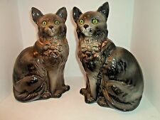 """Antique STAFFORDSHIRE 12"""" CAT FIGURES MOLDED NUMBERS GLASS EYES Edwardian"""