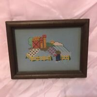 VINTAGE Counted Cross Stitch Farmer Looking Over Field South Dakota Circa 1970