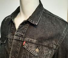 Men Red Tab Levis Levi's Black Denim Trucker Jean Jacket sz XL