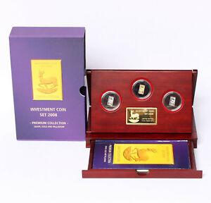 Investment Coin Set 2008 Malawi 3 Münzen Silber Gold Paladium je 1 g Springbock