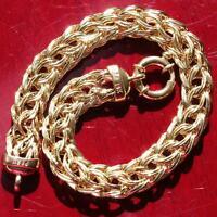 "14k yellow gold bracelet 7.0"" flat wheat chain vintage handmade 8.0gr  N2637A"