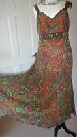 PER UNA TEA DRESS ORANGE MIX RETRO STYLE SIZE 12 LONG
