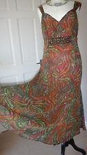PER UNA TEA DRESS FIT & FLARE ORANGE MIX RETRO STYLE SIZE 12 LONG
