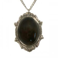 Real Metal Jewelry	Gothic Black Cabochon in Victorian Frame Pewter Necklace