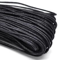 5 M 2mm schwarze Baumwoll Kordel gewachst Schnur Schmuck Perlenschnur 0,22€/m