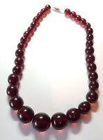 Vintage Art Deco Graduated Cherry Amber Neclace Bakelite Graduating Red  47g