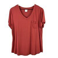 SOMA Women's L Short Sleeve Lounge Sleep T-Shirt Pocket V-Neck Stretch