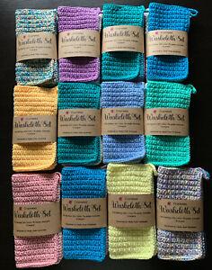 Crocheted Washcloth Set 2pk Mixed Colours