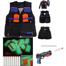 Tactical Vest w/Storage Pocket +100pcs Refill Gun Bullet for NERF N-StrikeT Glow