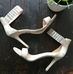 ALDO Heels Sandals 7.5 Jewel Ankle Wrap Stiletto Nude Light Beige Womens EUC