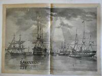 New York Navy yard Brooklyn American ships 1861 Harper's Weekly print