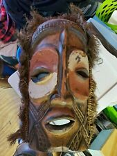 Vintage African / Indonesian carved and painted wood mask tribal  NO RESERVE !!!