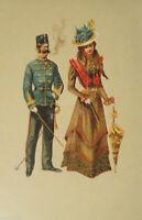 """Künstlerkarte, Frauen, Soldat"" 1900, Edgar Schmidt, Dresden-Budapest ♥"