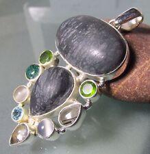 Sterling silver 29gr Picasso jasper/tourmaline/topaz/peridot  pendant.