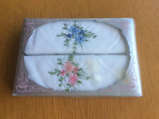New Vintage Boxed 1980s 2x Ladies Handkerchiefs, White Cotton, Floral Embroidery