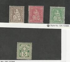 Switzerland, Postage Stamp, #61-62, 65, 115 Mint Hinged, 1867-1905