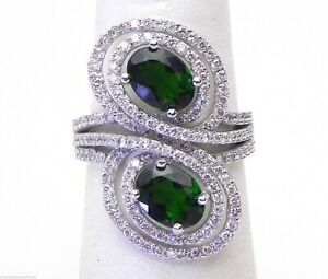 Stunning Figure 8 Ladies 14k White Gold Chrome Diopside & Diamonds By-Pass Ring