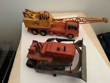 dinky toys grue lorry -mounted  bulldozer blaw knox etat d'usage a restaurer