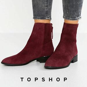 TOPSHOP Ladies Womens Koko Suede Ankle Boots Block Heel 3 4 5 6 7 8 9 Burgundy