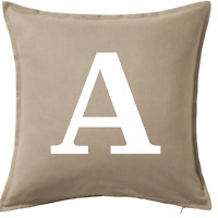 Personalised Beige Cushion Covers Custom Initial Sofa Daybed Pillows