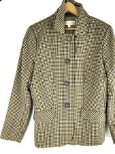 Talbots 10P Jacket Coat Gingham Check Country Equestrian Preppy Brown Tan o