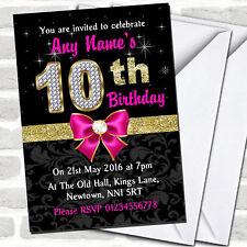 Pink Black Gold Diamond 10th Birthday Party Invitations