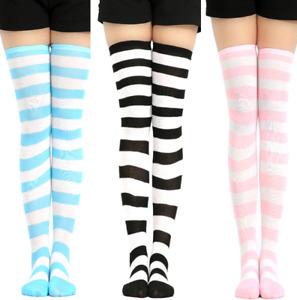 a Pair Stripe Over Knee Long Thigh Striped Socks Female Girl Women