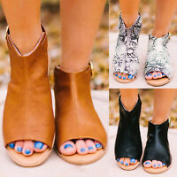 Women Gladiator Flat Sandals Summer Peep Toe Ankle Buckle Lady Casual Shoes Size