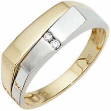 Herrenring Ring mit 2 Diamanten Brillanten 585 Gold Gelbgold Weißgold Goldring