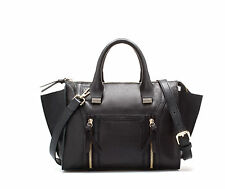 ZARA BLACK MINI LEATHER CITY BAG WITH ZIPS MESSENGER BAG NEW