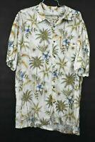 Island Shores Mens XL Short Sleeve White Palm Tree Leaf Hawaiian Button Up Shirt