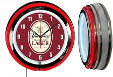 "Yuengling Lager BEER 19"" RED Double Neon Clock Man cave Garage Bar"