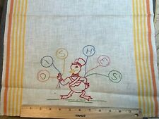 """Vintage Linen Kitchen Toweling Towel Fabric Cute Embroidered Duck """"Dishes"""""""