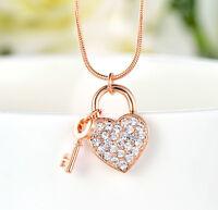 18K Rose Gold GF Cute Swarovski Crystal Love Heart Locket Pendant Necklace