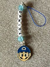 1 SUPER MARIO BROS BAG LUNCHBOX  mobile ds ZIP CHARM PERSONALISED ANY NAME Blue