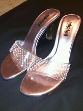 CLEAR Slide Mules by UNLISTED transparent pink sz 8.5 m Prom Wedding Bridesmaid