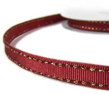 "2 Yds Metallic Gold Side Saddle Stitched Brick Red Grosgrain Ribbon 3/8""W"