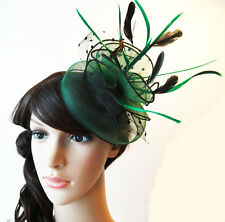 Racing Wedding Party Race Game Headpiece Fascinator Hat Hair Clip Feather Green